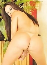 A Brazilian tranny with a big limp dick spreading her ass