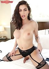 Superstar Domino Presley wants to fuck you and it's not long before you feel her hard cock inside! When she's done fucking you she sucks you