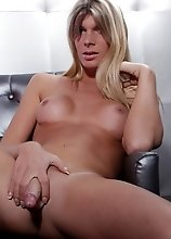 Stunning TS Angelina strips and plays