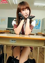Japanese tgirl Serina is a very bad girl and she is having to spend time after school to make up for being bad. Watch her stroke her cock on the desk.
