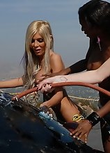 Sweet hottie Kimber James in sexy carwash photoshoot