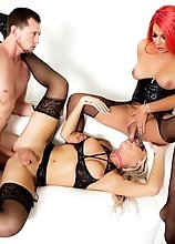 Two busty TS pornstars - curvy, racy bombshell Chanel Santini and blonde beauty Aubrey Kate - have well-hung stud Pierce Paris shackled to a bondage r