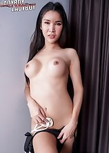 Today, watch ladyboy Emmy go naked and begins showing off her amazing body with big tits then jerks off her cock until she cums!