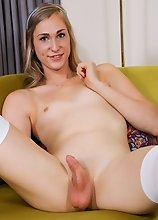 Looking sexy as always, Addi slowly strips down ready to have fun! Watch beautiful Addi stroking her cock until she cums!