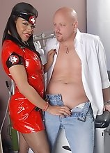 Ebony doctor Sheeba having dirty fun with her patient