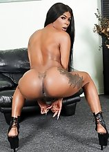 Black tgirl Theshaybarbie has an amazing body and perfect big boobs! Watch her showing off her amazing ass and stroking her cock!